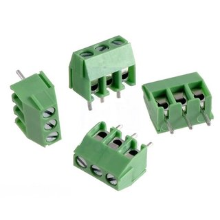 Pololu screw terminal strip: 3-pole, 3.5 mm pitch, side connection (4-pack), 18 - 24 AWG, 125V @ 10A