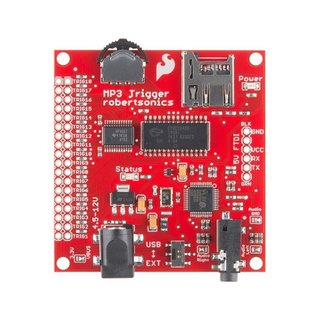 Pololu MP3 trigger, Triggerboard V24, up to 256 tracks via remote trigger, max.192 Kbit/s with stereo playback, 12V @ 45mA