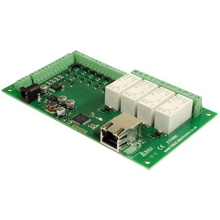 Devantech - ETH484 - 4 x 16A Ethernet Relay, Steuerung mit TCP/IP Befehlen, 4 x analog-In, 4 Relais, 8 x digitale I/Os