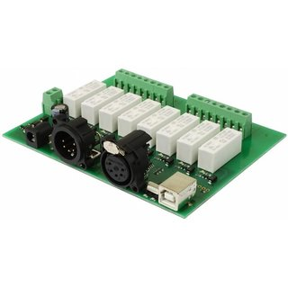 DMX 8-channel relay/dimmer output module, USB, compatible with USITT DMX512-A Standard base address 1-505