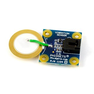 Phidgets vibration sensor, piezoelectric vibration sensor, max. current consumption 400 µA, output impedance 1 kO