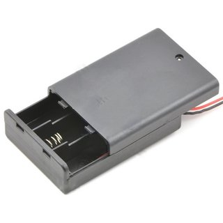 3-AA Battery holder grey, with switch and cable included in delivery
