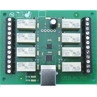 USB-RLY08 Relay Output Relay output Relay output 8 voltage-free contact relay outputs Type SPCO Current 1A each with LED display