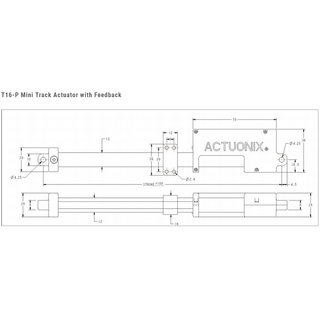 Actuonix T16-P Mini rail drive with feedback 200mm 64:1 12 Volt incl. control board for linear drives